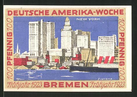 Notgeld Bremen 1923, 100 Pfennig, Stadtwappen und internationale Flaggen, Hafen von New York