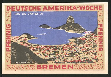 Notgeld Bremen 1923, 50 Pfennig, Stadtwappen und internationale Flaggen, Ortsmotiv von Rio de Janeiro