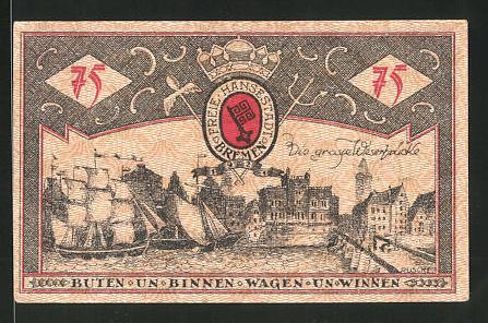 Notgeld Bremen 1921, 75 Pfennig, Stadtwappen, die grosse Weserbrücke