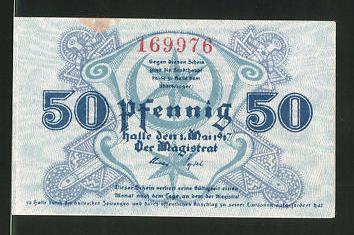 Notgeld Halle 1920, 50 Pfennig, Stadtwappen, die fünf Türme