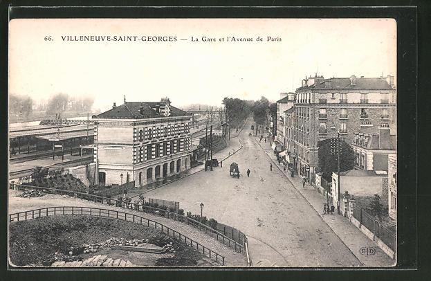 AK Villeneuve-Saint-Georges, la gare et l'avenue de Paris