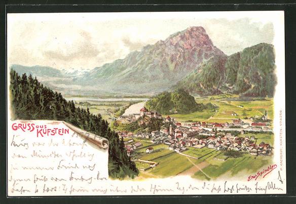 Künstler-AK Erwin Spindler: Kufstein, Ortsansicht mit Alpenpanorama