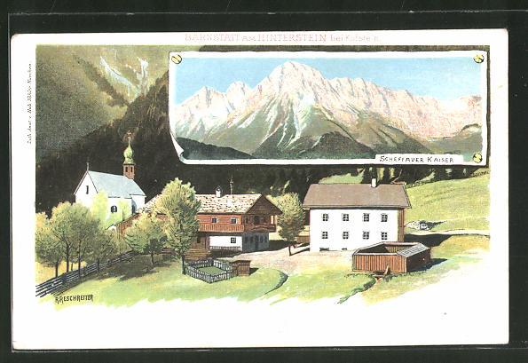 Künstler-AK Rudolf Reschreiter: Barnstatt, Ortsmotiv und der Scheffauer Kaiser