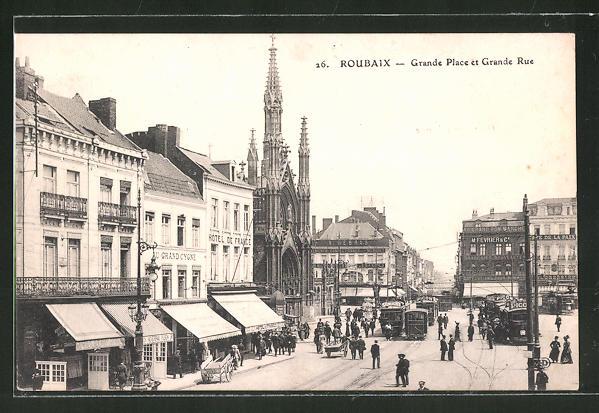 Foyer Grand Rue Roubaix : Ak roubaix grande place et rue mit strassenbahnen