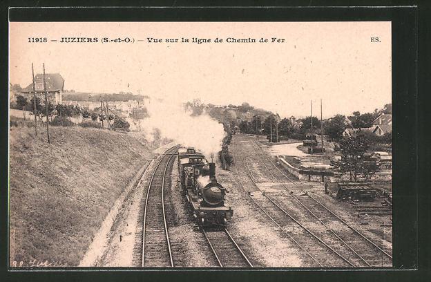 AK Juziers, vue sur la ligne du chemin de fer