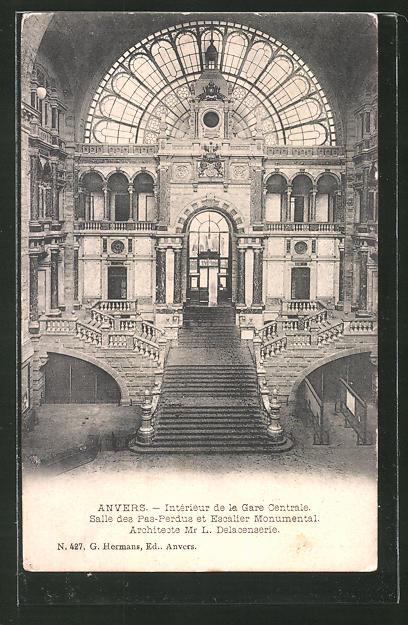 AK Anvers, Intérieur de la gare centrale, salle des pas-perdus et escalier monumental, Bahnhof