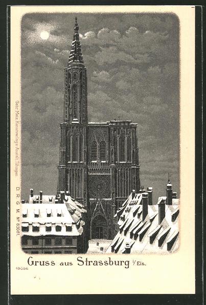 Winter-Lithographie Strassburg, Münster im Mondschein