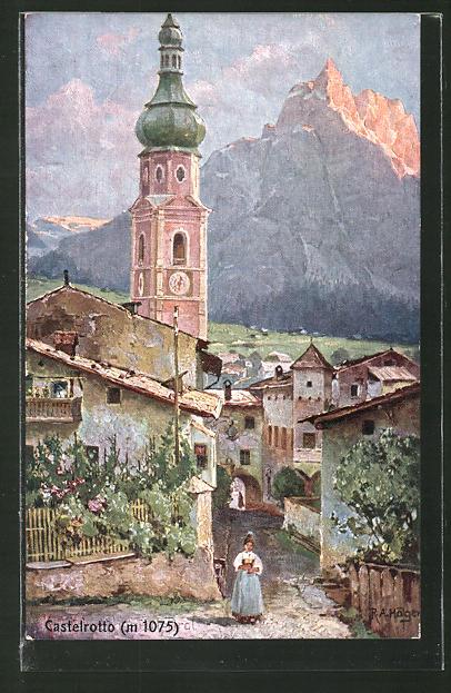Künstler-AK Rudolf Alfred Höger: Castelrotto, Blick zur Kirche
