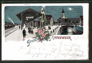 Mondschein-Lithographie Appenweier, Partie am Bahnhof