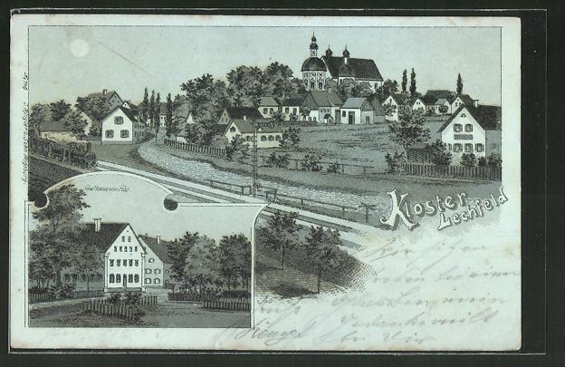 Mondschein-Lithographie Kloster Lechfeld, Ortsansicht, Gasthaus zur Post