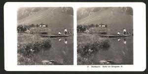 Stereo-Fotografie Fotograf unbekannt, Ansicht Königssee, Männer mit Ruderboot