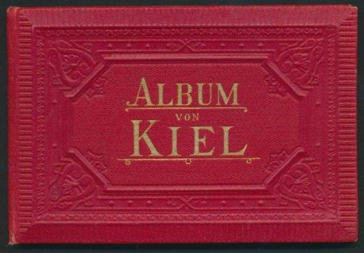 Leporello-Album Kiel, mit 16 Lithographie-Ansichten, Kriegshafen, Bellevue, Ellerbeck, Werft Gaarden, verzierter Einband