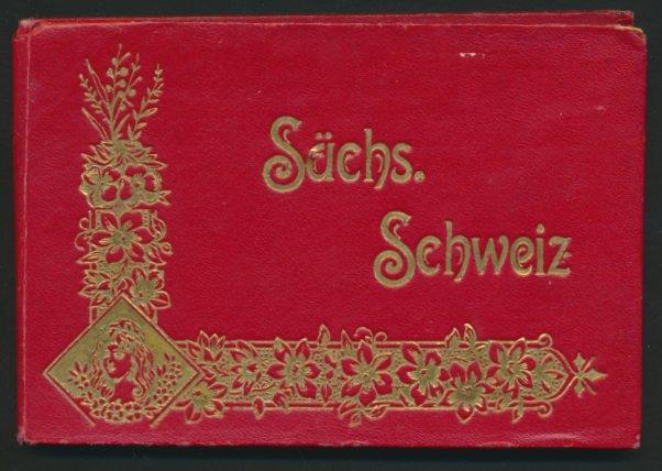 Leporello-Album Sächsische Schweiz, mit 21 Lithographie-Ansichten, Tetschen, Blasewitz, Wehlen, prächtiger Einband