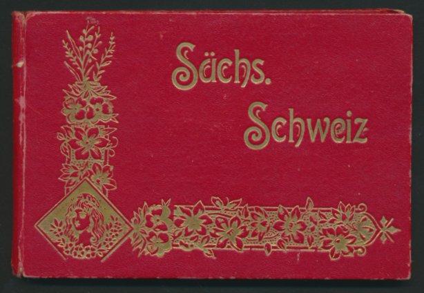 Leporello-Album Sächsische Schweiz, mit 21 Lithographie-Ansichten, Königstein, Schandau, Tetschen, schöner Einband