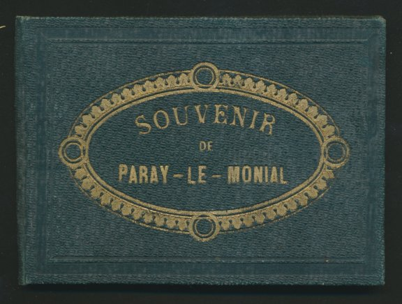 Leporello-Album Paray-Le-Monial, mit Foto-Ansichten, Tour St. Nicolas, Hotel De Ville, Eglise, Chapelle, schöner Einband