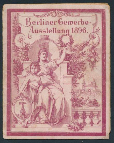 Leporello-Album Berlin, mit 8 Lithographie-Ansichten, Gewerbe-Ausstellung 1896, Kolonialausstellung, prunkvoller Einband