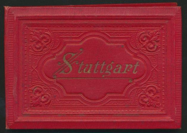 Leporello-Album Stuttgart, mit 24 Lithographie-Ansichten, Bahnhof, Postamt, Gewerbe-Museum, verzierter Einband