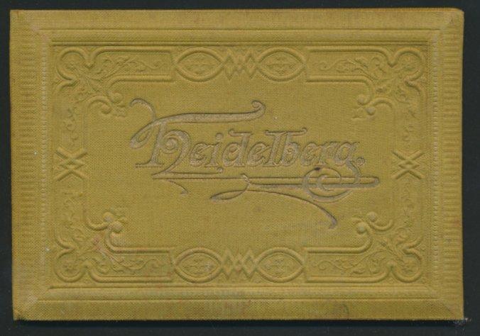 Leporello-Album Heidelberg, mit 14 Lithographie-Ansichten, Panorama, Hotel Bellevue, Bergbahn, schöner Einband