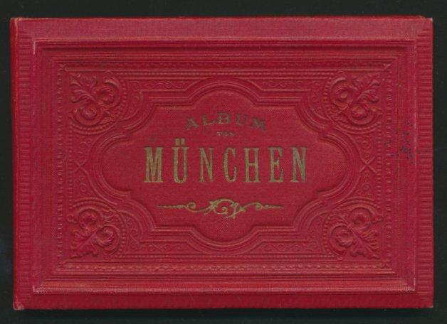 Leporello-Album München, mit 30 Lithographie-Ansichten, Karlsplatz, Feldherrnhalle, Hofbräuhaus, verzierter Einband