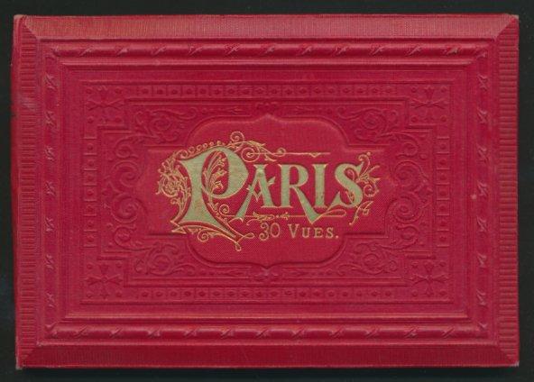 Leporello-Album Paris, mit 30 Lithographie-Ansichten, Grand Opera, Notre Dame, Panthéon, schöner Einband