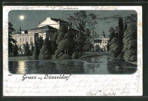 Mondschein-Lithographie Düsseldorf, Partie an der Landeskrone