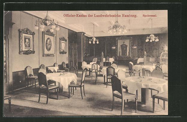 Hifi Hamburg Mönckebergstraße ak hamburg offizier kasino der landwehrbezirke speisesaal
