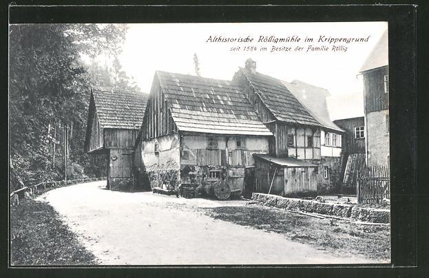 AK Kleingiesshübel, Althistorische Rölligmühle im Krippengrund