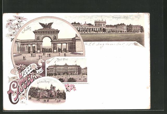 Lithographie Kassel, Kaiserliche Post, Orangerieschloss, Auethor