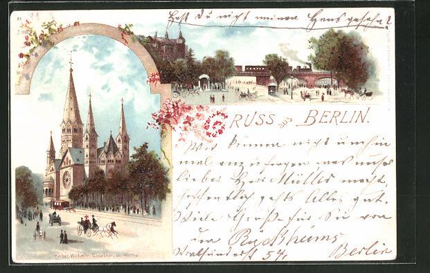 Lithographie Berlin-Charlottenburg, Kaiser-Wilhelm-Gedächtnis-Kirche