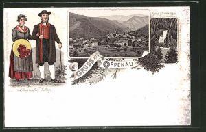 Lithographie Oppenau, Ruine Allerheiligen, Schwarzwälder Trachten