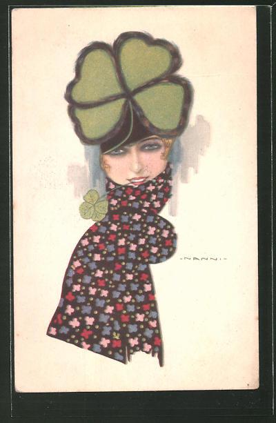 Künstler-AK Nanni: Junge Frau mit Klee-Hut und Schal