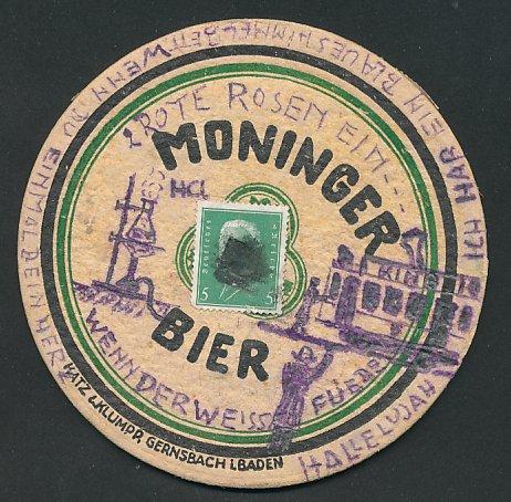 Bierdeckel-AK Karlsruhe, Moninger Bier
