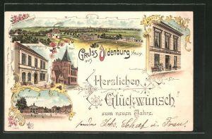 Lithographie Oldenburg, Hotel Stadt Hamburg, Scheibner's Hotel, Marktplatz