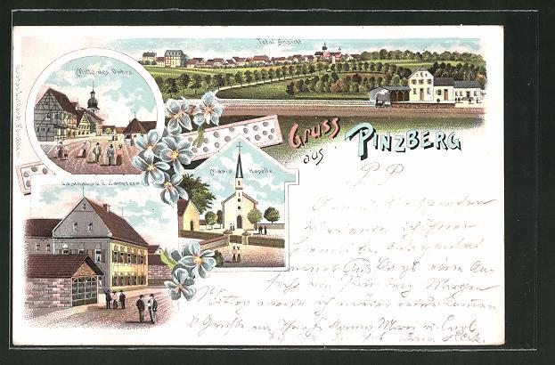 Lithographie Pinzberg, Gasthaus von G. Zametzer, Maria-Kapelle