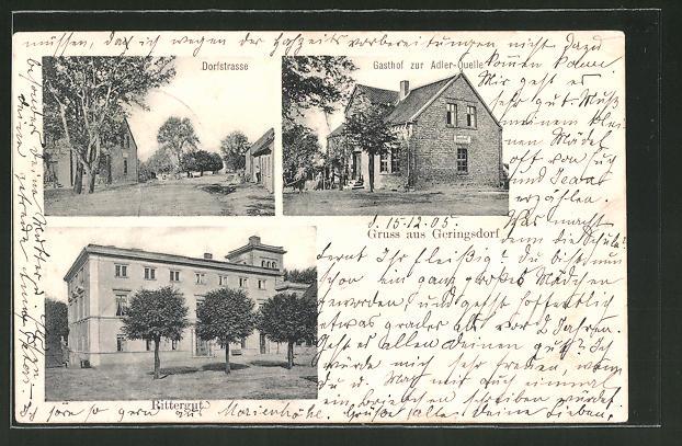 AK Gehringsdorf, Gasthof zur Adler-Quelle, Rittergut, Dorfstrasse
