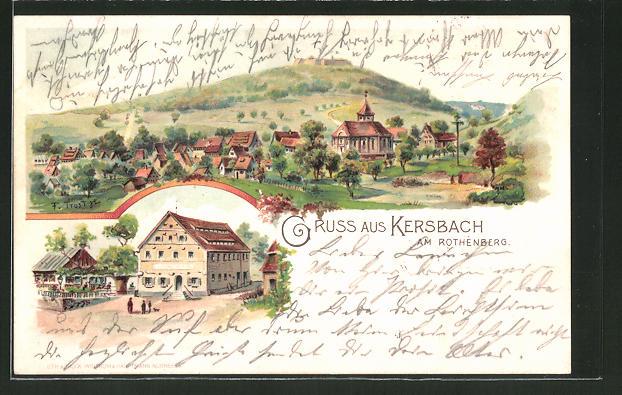 Lithographie Kersbach, K. Schiffers Gasthaus, Ortsansicht