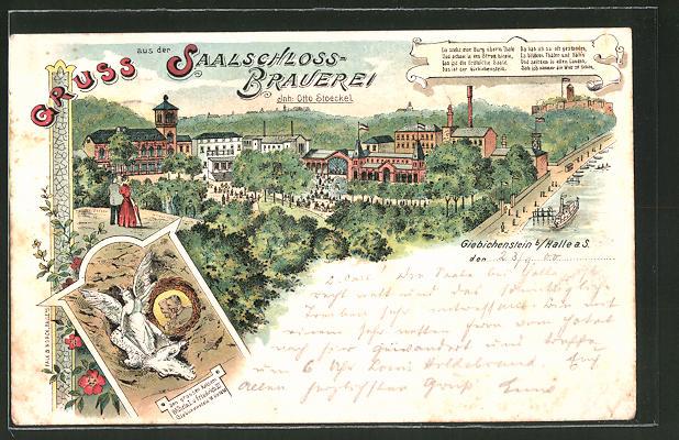 Lithographie Halle / Saale, Giebichenstein, Saalschloss-Brauerei von Otto Stoeckel mit Gasthof an der Saale