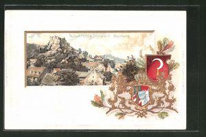 Passepartout-Lithographie Streitberg, Teilansicht des Ortes in der Fränkischen Schweiz, Wappen