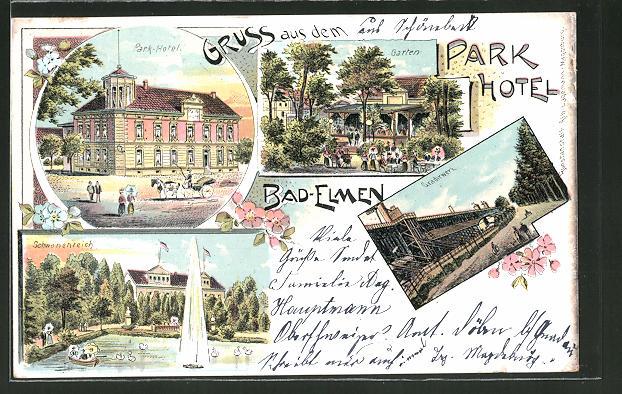 85071 ak gruss aus bad elmen schwanenteich mit denkmal 1903 nr 232623689307 oldthing