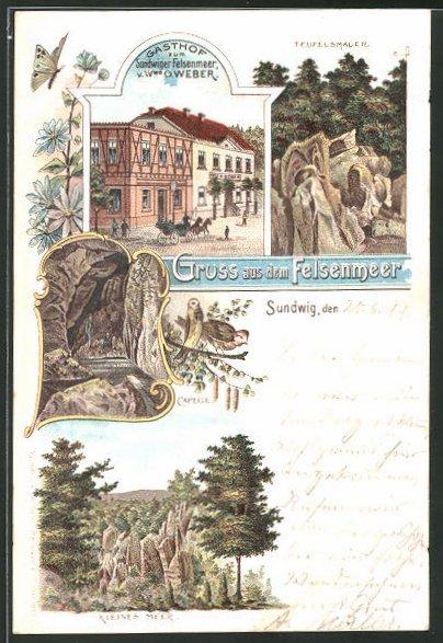 Lithographie Felsenmeer, Gasthof zum Sundwiger Felsenmeer von Wwe. O. Weber, Capelle, Kleines Meer, Teufelsmauer