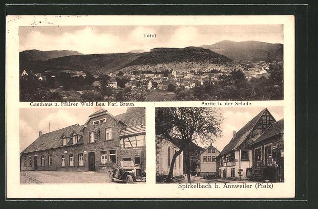 AK Spirkelbach, Totalansicht, Gasthaus zum Pfälzer Wald