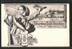 AK Würzburg, Turnerbund Jahn Würzburg, gegründet 1892, Blick auf die Stadt