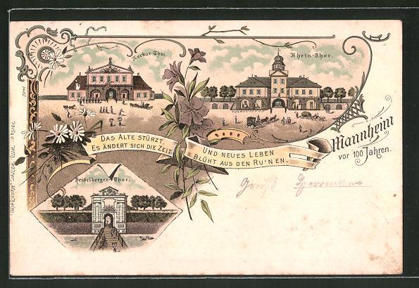 Lithographie Mannheim, Neckar-Thor, Rhein-Thor, Heidelberger-Thor