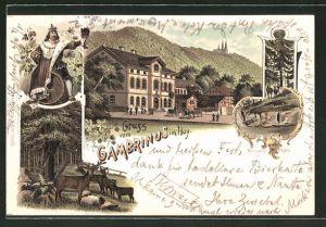 Lithographie Dingelstedt, Gasthof Gambrinus im Huy