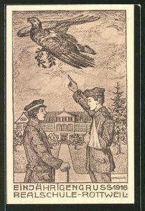 Künstler-AK Rottweil, Absolvia Einjährigen der Realschule 1916