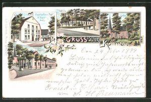 Lithographie Kollmar, Gasthaus zur Post, Schule, Kirche, Gasthaus Magen's
