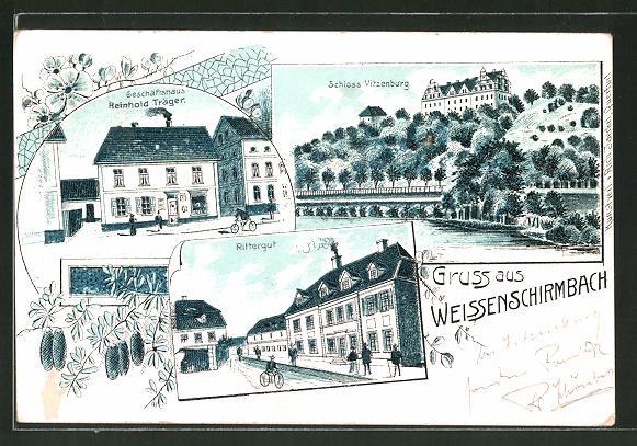 Lithographie Weissenschirmbach, Schloss Vitzenburg, Rittergut, Geschäftshaus Träger
