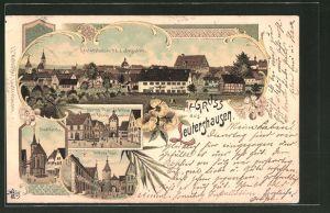 Lithographie Leutershausen, Gesamtansicht, Stadtkirche, Unteres Thor