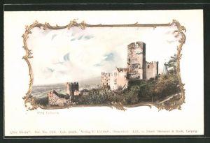 AK Burg Lahneck, Motiv in Zierrahmen