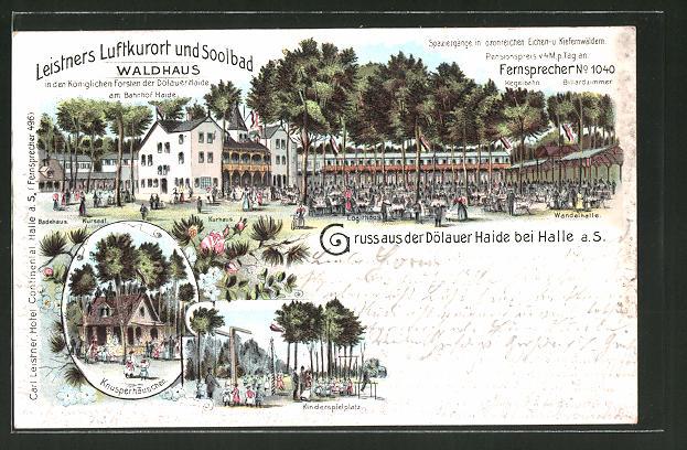 Lithographie Halle / Saale, Gasthaus Waldhaus in der Dölauer Haide, Kinderspielplatz, Knusperhäuschen